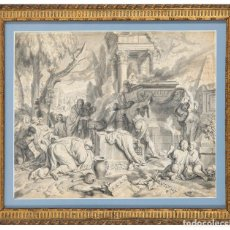 Arte: AGUADA Y PLUMILLA SOBRE PAPEL OFRENDA A LOS DIOSES GERART HOET PAÍSES BAJOS 1648 LA HAYA 1733. Lote 295422958