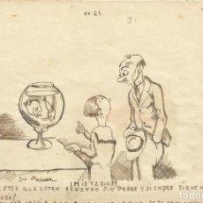 Arte: JOSÉ MARTÍNEZ MÁRMOL. DIBUJO HUMORÍSTICO A TINTA. MISTERIOS. 1930. FIRMADO A MANO. 13X19 CM.. Lote 295811418