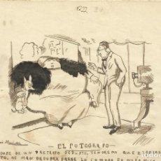 Arte: JOSÉ MARTÍNEZ MÁRMOL. DIBUJO HUMORÍSTICO A TINTA. EL FOTÓGRAFO. 1930. FIRMADO A MANO. 13X19 CM.. Lote 295811523