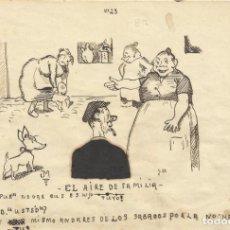 Arte: JOSÉ MARTÍNEZ MÁRMOL. DIBUJO HUMORÍSTICO A TINTA. EL AIRE DE FAMILIA 1930. FIRMADO A MANO. 13X19 CM.. Lote 295812258