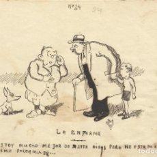 Arte: JOSÉ MARTÍNEZ MÁRMOL. DIBUJO HUMORÍSTICO A TINTA. LA ENFERMA. 1930. FIRMADO A MANO. 13X19 CM.. Lote 295812368