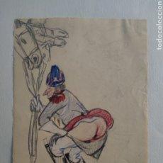 Arte: ANTIGUO DIBUJO COLOREADO CARICATURESCO XX PRIN. Lote 295986773