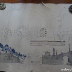 Arte: PEDRO MUGURUZA, ARQUITECTURA, PROYECTO PARA PABELLÓN REAL, 75 X 62 APROX. Lote 295988008