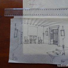 "Arte: PEDRO MUGURUZA, TEATRO, ARQUITECTURA, 12 DIBUJOS DECORADOS ""EL HUÉSPED DEL SEVILLANO"". Lote 295988468"