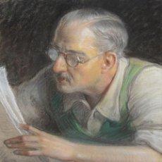Arte: JULIO BORRELL PLA (BARCELONA, 1877 - 1977) DIBUJO A PASTEL. LA LECTURA. Lote 296556953