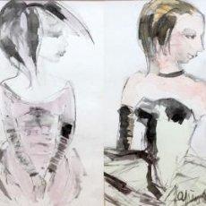 Arte: JOSEP TAPIOLA GIRONELLA (1919 - 1985) CONJUNTO DE 4 TECNICAS MIXTAS FIRMADAS. PERSONAJES CIRCENSES. Lote 296774453