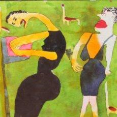 Arte: ELISABETH SABALA ABELLÓ (BARCELONA, 1956) TECNICA MIXTA SOBRE CARTÓN TITULADO GORDA. Lote 296820803