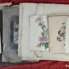 Arte: ENRIQUETA Y JULIA PORRINI. FONDO PICTORICO DE 51 DIBUJOS. SIGLO XIX-XX.. Lote 297020553
