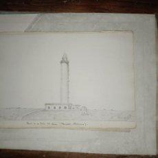 Arte: FARO DE ISLA DEL AIRE MENORCA BALEARES DIBUJO ORIGINAL CARBONCILLO FIRMADO 1899. Lote 297174183
