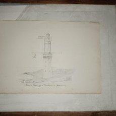 Arte: FARO DE PORTOPI MENORCA BALEARES DIBUJO ORIGINAL CARBONCILLO FIRMADO 1904. Lote 297176823