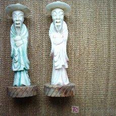 Arte: GRANDES FIGURAS EN ALABASTRO. CHINA. AÑOS 20. 35 CM. . Lote 27416984