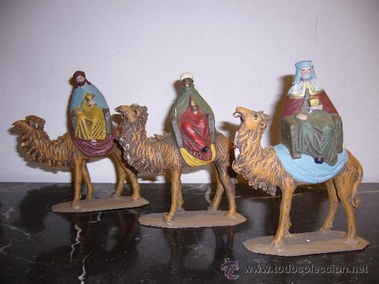 3 REYES MAGOS DE BARRO ANTIGUOS (Arte - Escultura - Terracota )