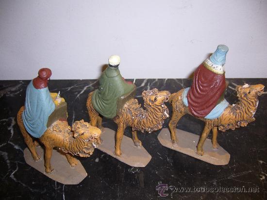 Arte: 3 Reyes Magos de barro antiguos - Foto 2 - 27362835