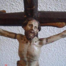 Arte: CRUCIFICADO EN MADERA -MANIERISTA FINALES DEL S. XVI-. SOBRE PEANA EN ORO FINO. DIMEN.- 59X30 CMS.. Lote 26365719