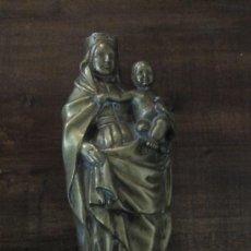 Arte: BELLA ESCULTURA DE VIRGEN CON NIÑO EN BRONCE FUNDIDO. S, XVII O XVIII. Lote 17898033