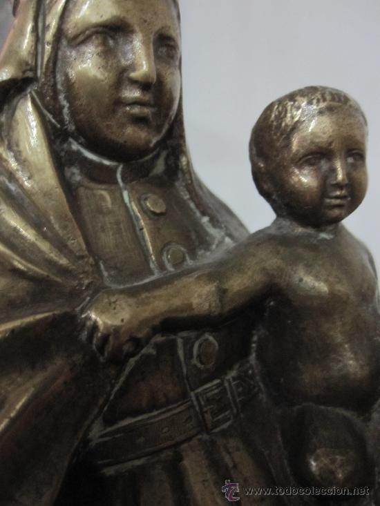 Arte: BELLA ESCULTURA DE VIRGEN CON NIÑO EN BRONCE FUNDIDO. S, XVII o XVIII - Foto 6 - 17898033