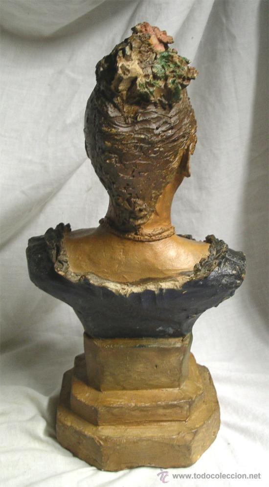 Arte: Escultura Busto Mujer epoca modernista, barro o terracota, Buxo ? no firmada. Med 38 cm - Foto 3 - 26357777