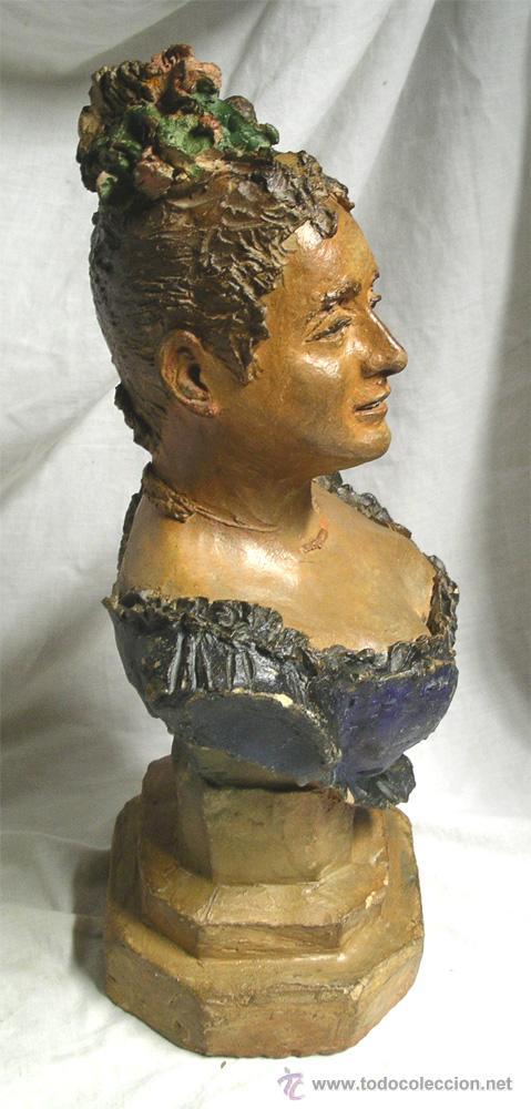 Arte: Escultura Busto Mujer epoca modernista, barro o terracota, Buxo ? no firmada. Med 38 cm - Foto 4 - 26357777