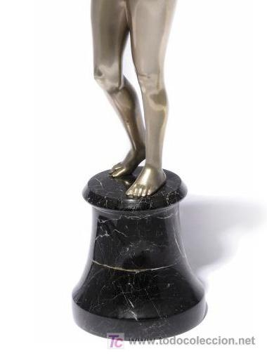 Arte: 42,2 cm. BRONCE PATINADO DE JOSEF LORENZL . AUSTRIA . ORIGINAL ESCULTURA ART DECO 1920 - 1930 - Foto 5 - 27600308