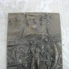 Arte: PLACA DE BRONCE DE ADAN Y EVA FIRMADA. Lote 21519906
