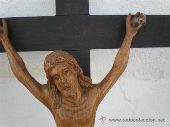 Arte: crucifijo con talla de cristo en madera siglo XVIII - Foto 2 - 22365015