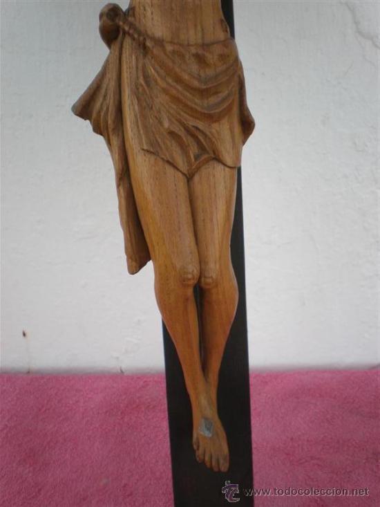 Arte: crucifijo con talla de cristo en madera siglo XVIII - Foto 3 - 22365015