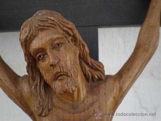 Arte: crucifijo con talla de cristo en madera siglo XVIII - Foto 4 - 22365015