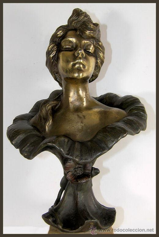 Arte: EMMANUEL VILLANIS Escultura ART NOUVEAU figura femenina modernista siglo XIX - Foto 11 - 26971123