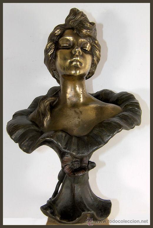 Arte: EMMANUEL VILLANIS Escultura ART NOUVEAU figura femenina modernista siglo XIX - Foto 8 - 26971123