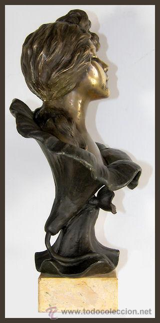 Arte: EMMANUEL VILLANIS Escultura ART NOUVEAU figura femenina modernista siglo XIX - Foto 13 - 26971123
