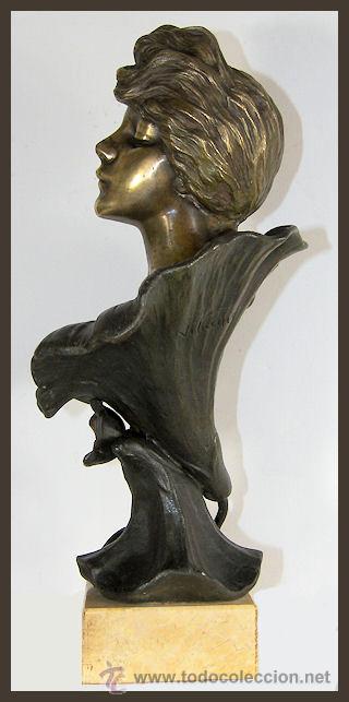 Arte: EMMANUEL VILLANIS Escultura ART NOUVEAU figura femenina modernista siglo XIX - Foto 6 - 26971123