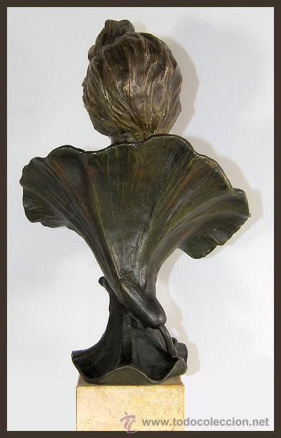 Arte: EMMANUEL VILLANIS Escultura ART NOUVEAU figura femenina modernista siglo XIX - Foto 10 - 26971123