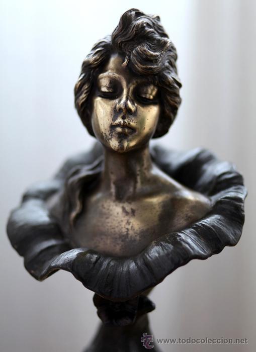 EMMANUEL VILLANIS ESCULTURA ART NOUVEAU FIGURA FEMENINA MODERNISTA SIGLO XIX (Arte - Escultura - Bronce)