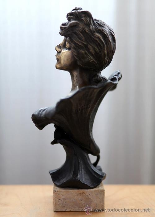 Arte: EMMANUEL VILLANIS Escultura ART NOUVEAU figura femenina modernista siglo XIX - Foto 22 - 26971123