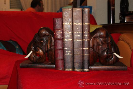 DOS GRANDES REPOSALIBROS, CABEZAS DE ELEFANTE , EN MADERA DE PALOSANTO Y MARFÍL O HUESO (Arte - Escultura - Hueso)