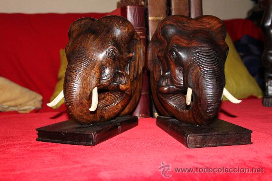 Arte: Dos Grandes Reposalibros, cabezas de Elefante , en madera de Palosanto y marfíl o hueso - Foto 2 - 27199747
