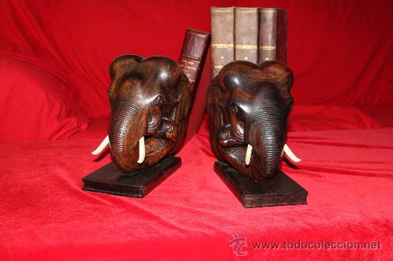 Arte: Dos Grandes Reposalibros, cabezas de Elefante , en madera de Palosanto y marfíl o hueso - Foto 3 - 27199747