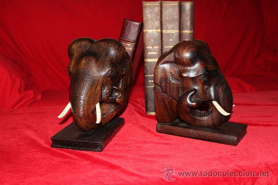 Arte: Dos Grandes Reposalibros, cabezas de Elefante , en madera de Palosanto y marfíl o hueso - Foto 4 - 27199747