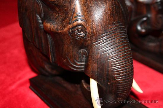 Arte: Dos Grandes Reposalibros, cabezas de Elefante , en madera de Palosanto y marfíl o hueso - Foto 10 - 27199747