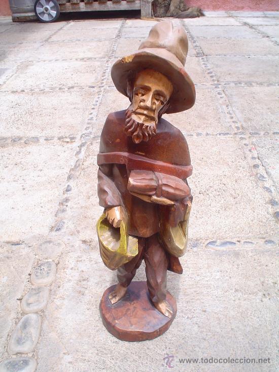 TALLA DE ANCIANO EN MADERA. (Arte - Escultura - Madera)