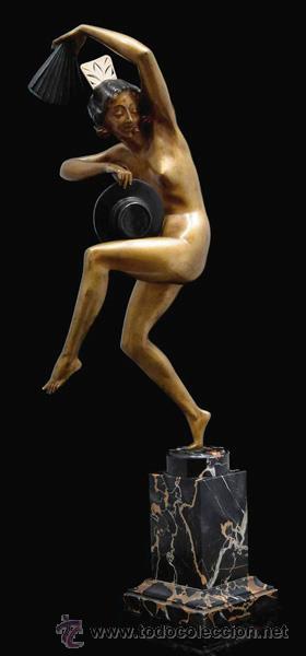 Arte: MARCEL-ANDRÉ BOURAINE (1886-1948) Danza Española Escultura Criselefantina bronce 1925 Art Deco 64 cm - Foto 5 - 27628815