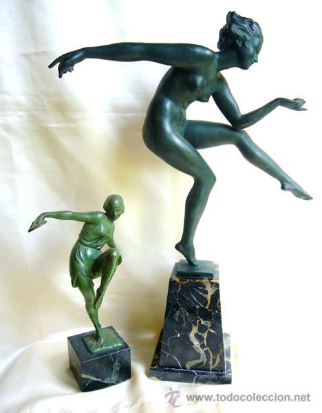 Arte: Bouraine. DERENNE . LE VERRIER . ESCULPTURA ART DECO . 1930 . DANSEUSE . 50cm - Foto 9 - 26489962