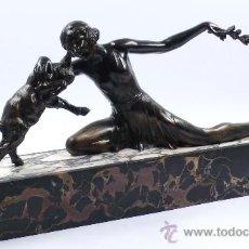 Arte: FIGURA ART DECO 1920'S. EN MÁRMOL Y CALAMINA, 53,5 CM LARGO X 25 CM ALTO. . Lote 26742921