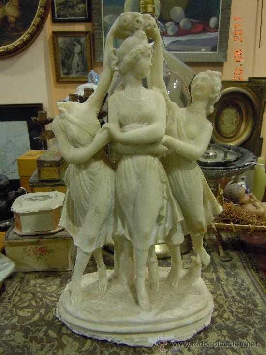 FIGURA ANTIGUA MOLDEADA EN POLVO DE ALABASTRO PARA RESTAURAR (Arte - Escultura - Alabastro)
