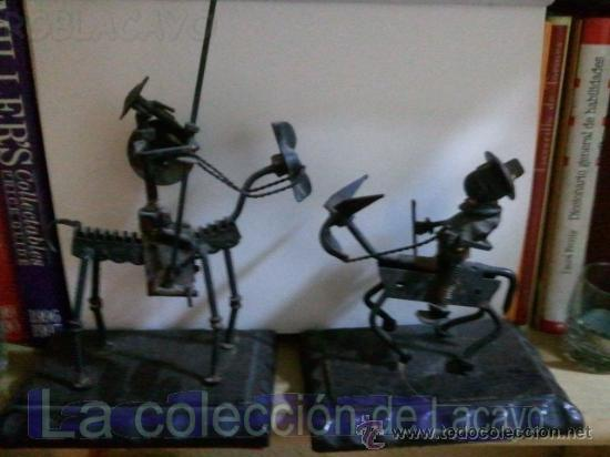 DON QUIJOTE Y SANCHO PANZA EN HIERRO FORJADO HECHO A MANO (Arte - Escultura - Hierro)