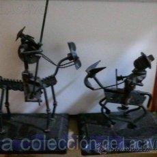 Arte: DON QUIJOTE Y SANCHO PANZA EN HIERRO FORJADO HECHO A MANO. Lote 28110750