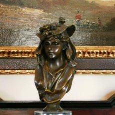 Arte: MAGNIFICA ESCULTURA DE BRONCE ESCULTOR GEORGE VAN DER STRAETEN 1856- 1928 BELGICA PEANA MARMOL. Lote 30661686