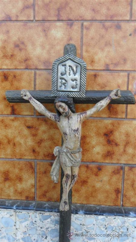 Arte: talla de cristo crucificado en madera XVIII - Foto 2 - 28768652