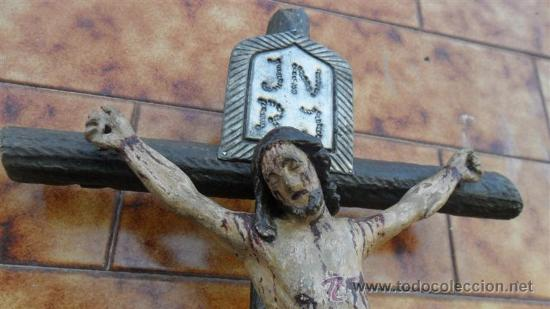 Arte: talla de cristo crucificado en madera XVIII - Foto 3 - 28768652