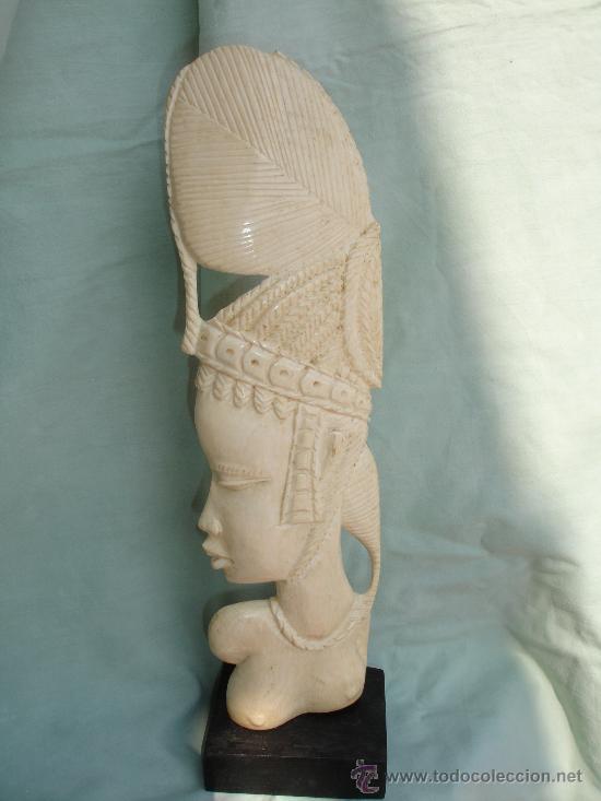 PRECIOSA TALLA AFRICANA EN MARFIL BUSTO DE MUJER 28 CM DE 1936 (Arte - Escultura - Marfil)